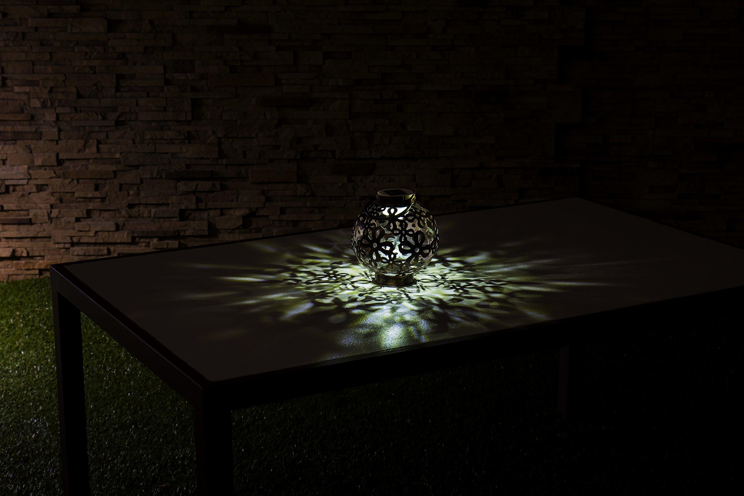 New Creative Light-n-Motion Bronze Floral Solar Powered Illuminated Metal Lantern, Moving Lights