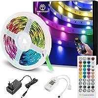 WenTop Tiras LED Bluetooth 5m, 5050 RGB Tiras de luces LED con IR Control Remoto y Inteligente Control de APP, Tira LED…
