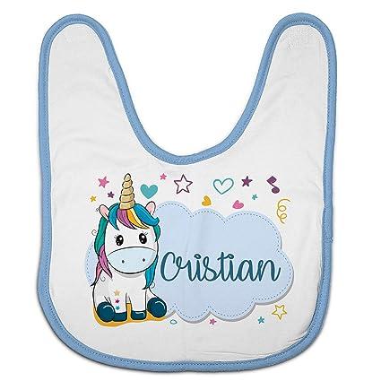 Lolapix Babero Personalizado con el Nombre del bebé. Modelo Unicornio Azul. Regalo Original para Recien Nacidos, bebés y niños. Diferentes diseños ...