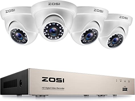 Zosi 1080p Cctv Camera System 8 Channel H 265 1080p Surveillance Dvr Kit And 4x1080p Outdoor Cctv Cameras Dome White Hd Smart Security Camera System Amazon Co Uk Diy Tools