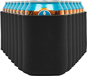 Blank Beer Can Coolers Sleeves (14-Pack) Soft Insulated Beer Can Cooler Sleeves - HTV Friendly Plain Black Can Sleeves for Soda, Beer & Water Bottles - Blanks for Vinyl Projects Wedding Favors & Gifts