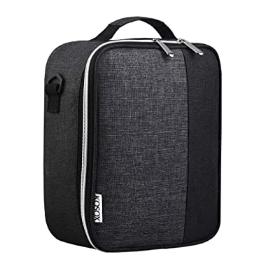 Lunch Bag, KOSOX Original Collapsible Multilayer Thermal Insulated Oxford Lunch Box, Waterproof Cooler Tote for Women Men Diet Management Travel Picnic School (Black Gray)