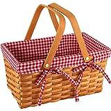 Yesland Picnic Basket, Natural Woven Basket with Double Folding Handles, Woodchip Basket & Organizer Blanket Storage for Egg