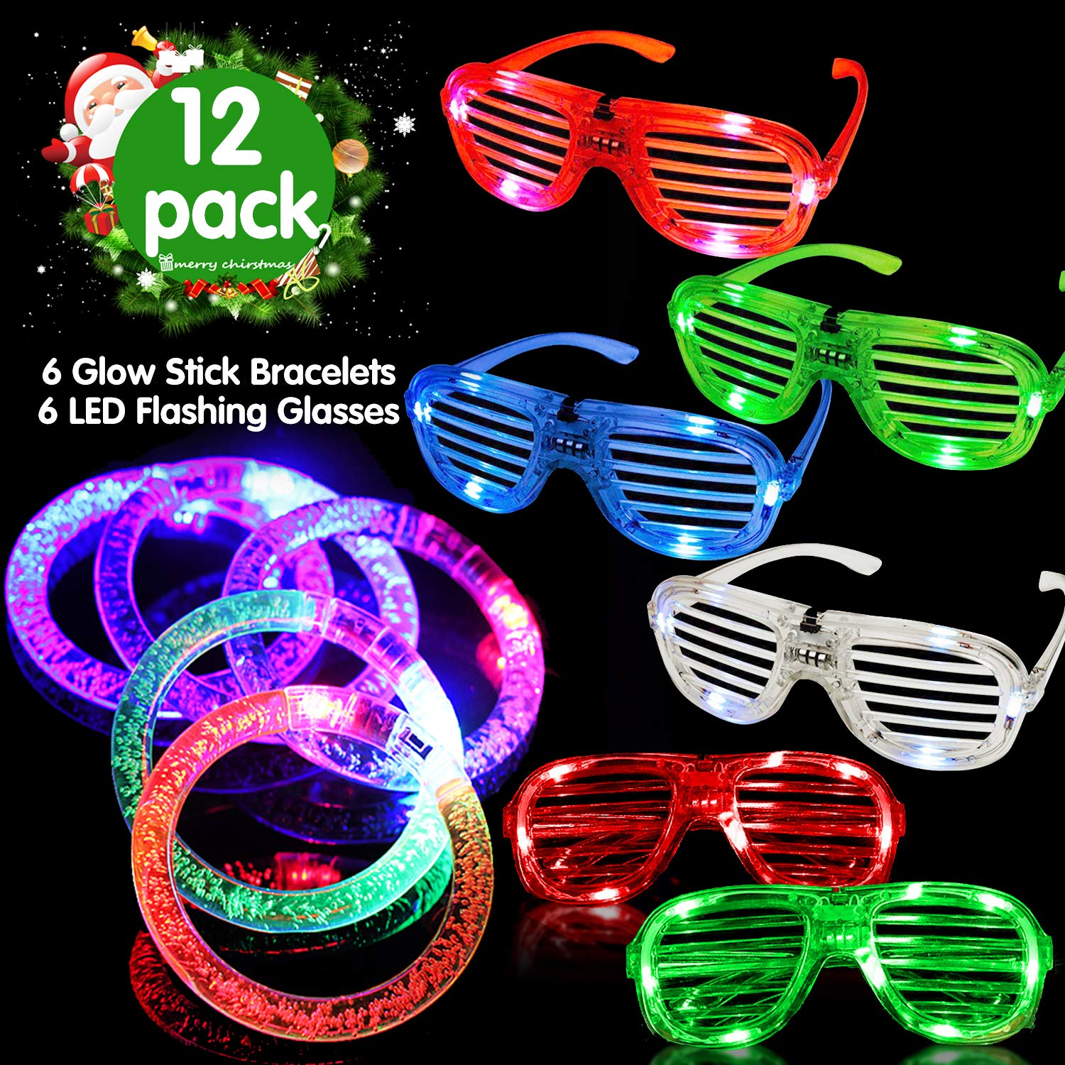 2019 New Year Eve Light Up Toys Christmas Glow in the Dark Party Favors 6 LED Flashing Glasses 6 Glowing Stick Bracelets for Kids Boys Girls Birthday Gifts Ugly Xmas Dress Up Accessories 12 Pack