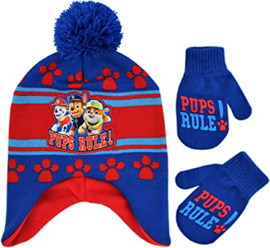 Nickelodeon Boys Toddler Paw Patrol Character Beanie Hat and Mittens Set,