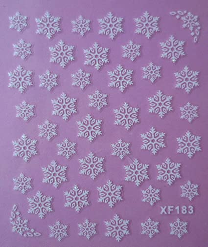 Amazon Com 3 Sheets Xf183 Snowflake 3d White Snow Winter Nail Art
