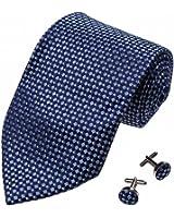 YAB1C02 Multicolored Checkered Pretty Gift Idea Mens Silk Tie Set 2PT By Y&G