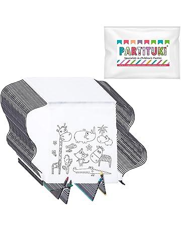 Partituki 25 Mochilas Infantiles para Colorear. Cada Una Incluye 5 Ceras de Colores. Ideal