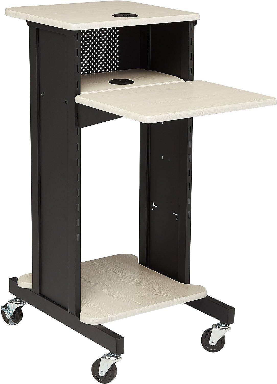 "Oklahoma Sound PRC200 Steel Premium Presentation Cart, 18"" Width x 40-1/2"" Height x 30"" Depth, Ivory Woodgrain/Black"
