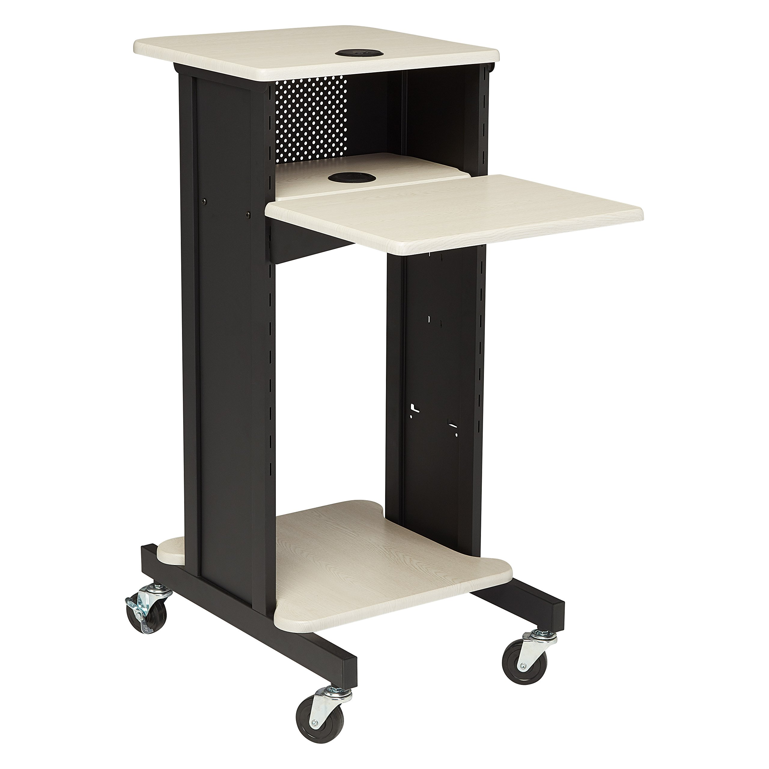 Oklahoma Sound PRC200 Steel Premium Presentation Cart, 18'' Width x 40-1/2'' Height x 30'' Depth, Ivory Woodgrain/Black by Oklahoma Sound