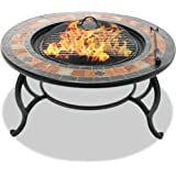 Centurion Supports Fireology LANIAKA Lavish Garden & Patio Heater Fire Pit Brazier, Coffee Table, Barbecue and Ice Bucket with Slate Tiles