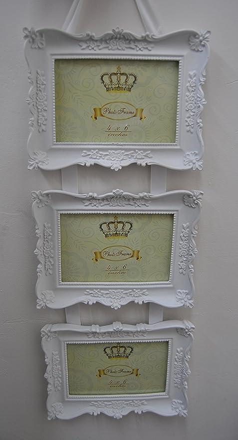 Triple para colgar blanco adornado tallada marco de fotos - Colgante ...