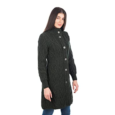 100% Merino Wool Aran Cable Long Knit Women Cardigan Coat with Celtic Knot Buttons at Women's Clothing store