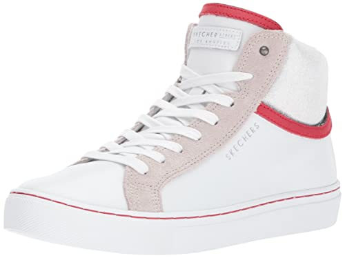Skecher Street Womens Side Street-Padded Collar Fashion Sneaker,white,5.5 ...