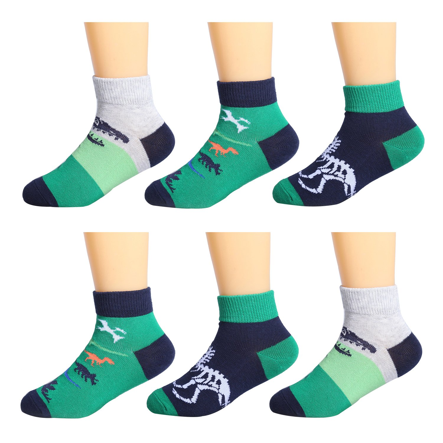 IMOZY Kids Athletic Sport Socks with Tab- Low Cut Ankle Socks- Dinosaurs Short Socks Pack for Toddler Little and Big Kids