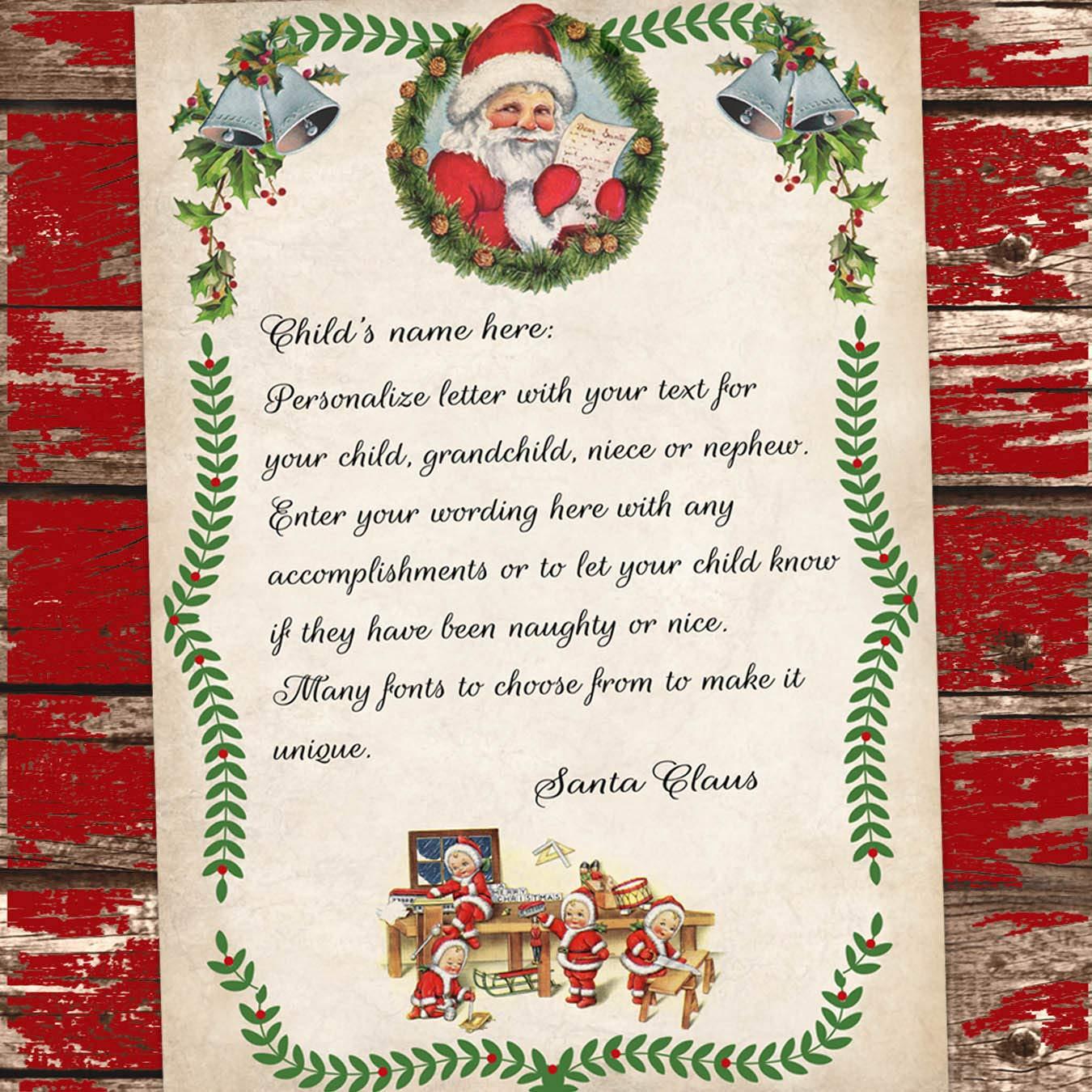 Amazon.com: Carta de Navidad de Santa Claus personalizado ...
