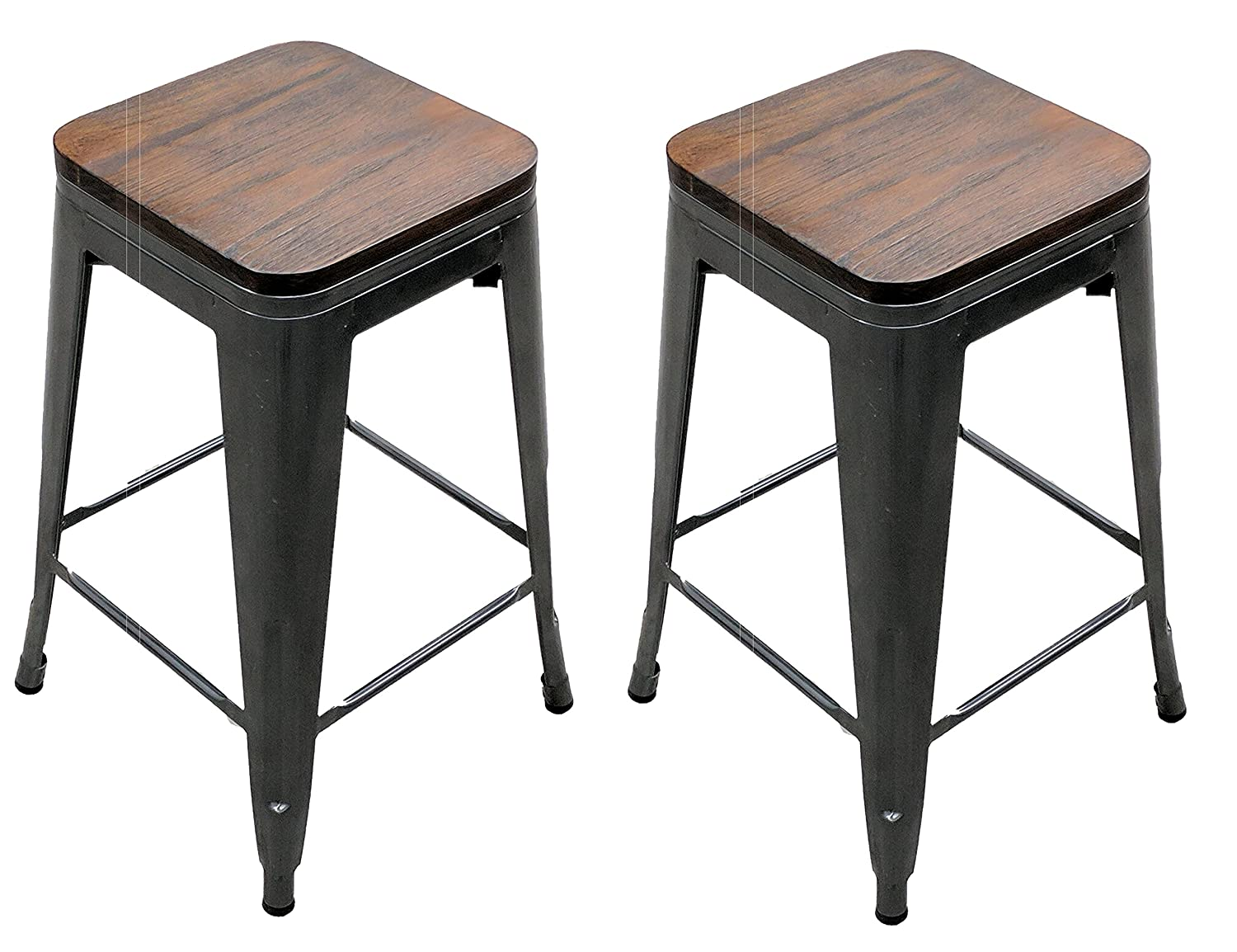 MIERES Titan Outdoors Distressed Gunmetal Stamped Stacking Bar Stool Set of 2 w Wood Seat