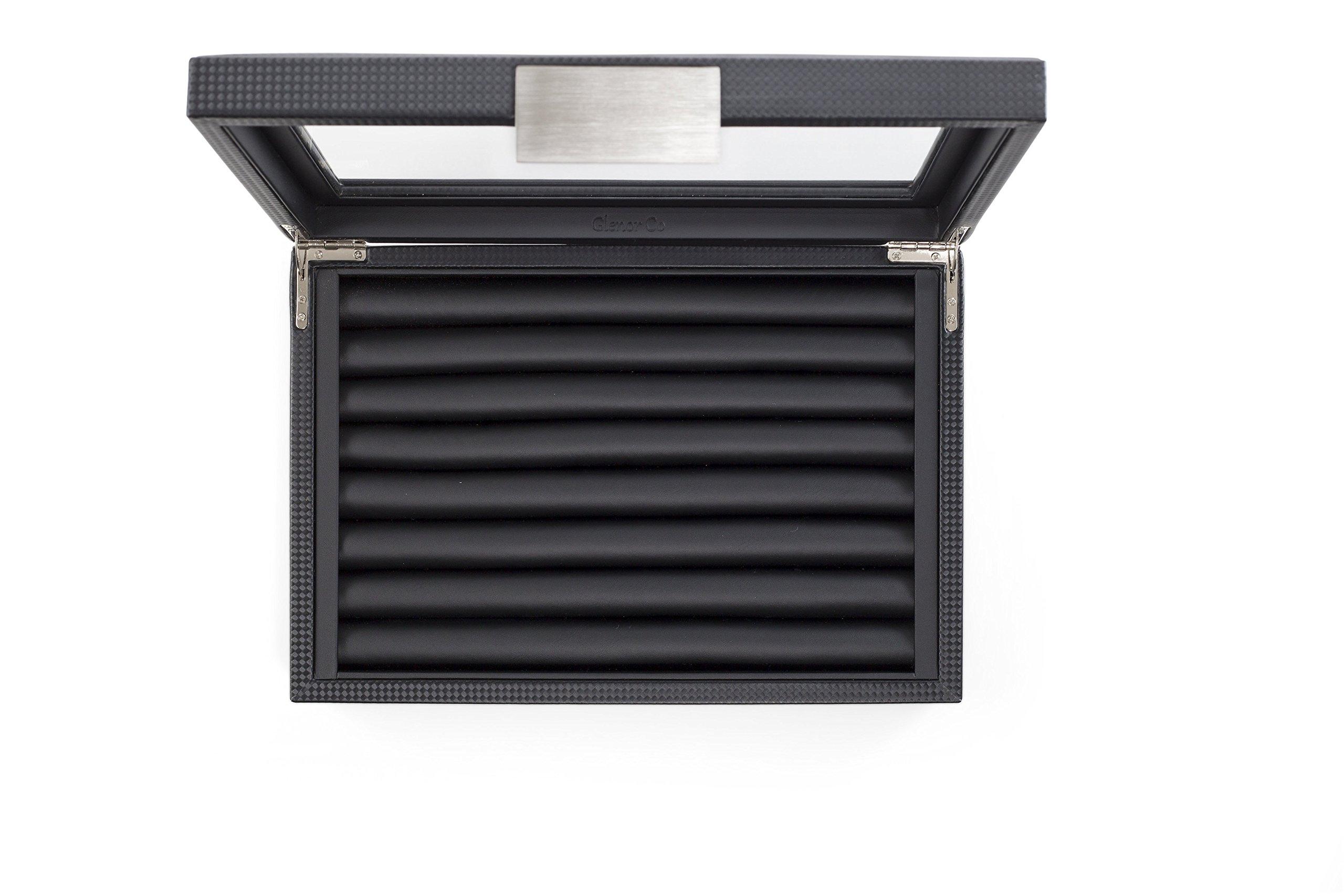 Glenor Co Cufflink Box for Men - Holds 70 Cufflinks - Luxury Display Jewelry Case -Carbon Fiber Design - Metal Buckle Holder, Large Glass Top - Black by Glenor Co (Image #8)