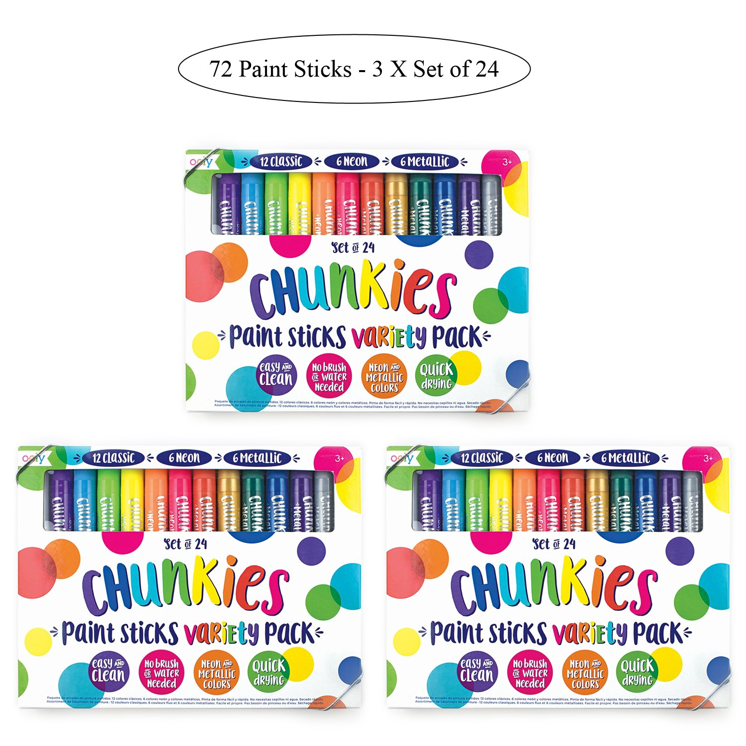 OOLY Chunkies Paint Sticks Variety Pack, 3 x Set of 24 (72 Crayons Total), Classic Neon & Metallic Colors