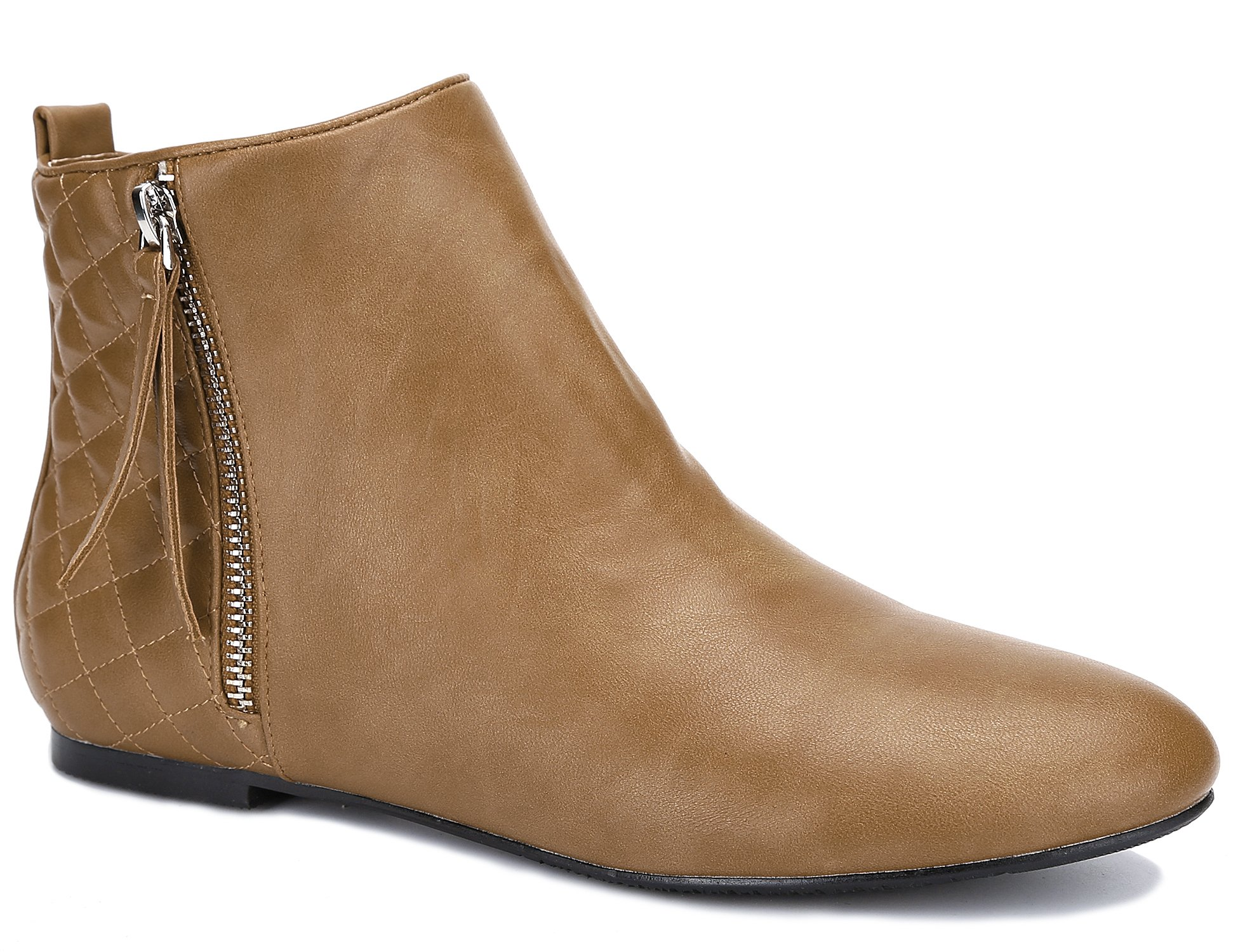 MaxMuxun Women Shoes Flats Classic Ankle Boots (39 EU/8 US, Camel PU)