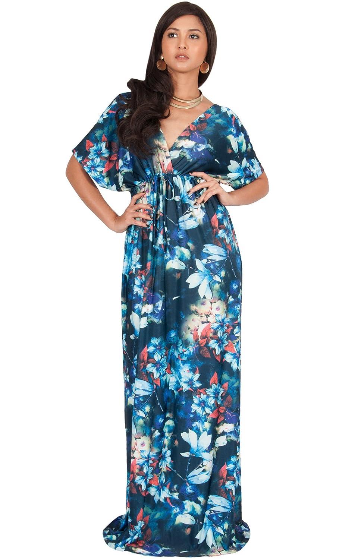 KOH KOH Womens Long Floral Print Kimono Short Sleeve V-Neck Summer ...