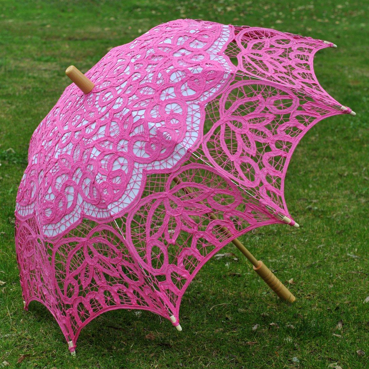 Topwedding Classic Cotton Lace Parasol Umbrella Bridal Shower Decoration, Fuschia by Topwedding (Image #2)