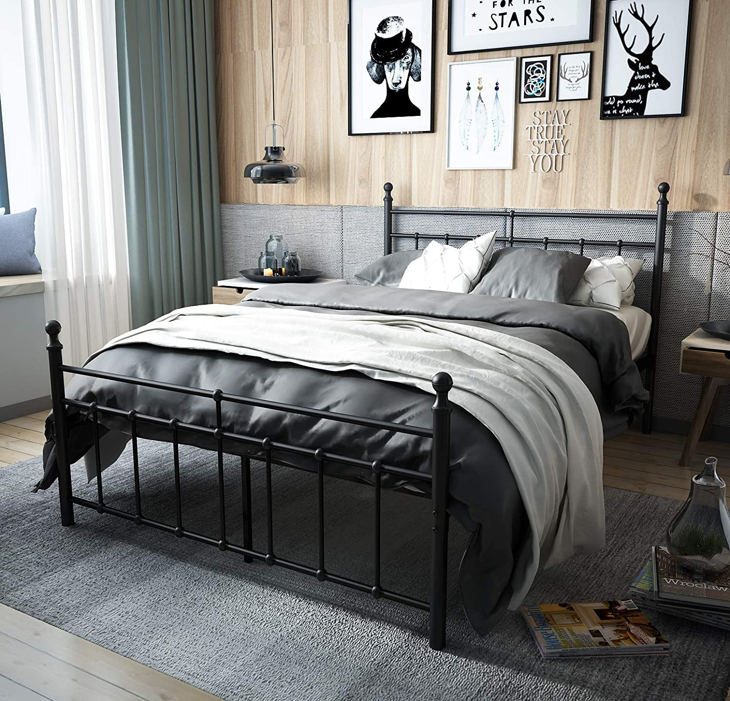 TEMMER Reinforced Metal Bed Frame Full Size with Headboard and Stable Metal Slats Boxspring Replacement Footboard Single Platform Mattress Base Full,Matte Black