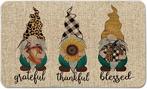 Artoid Mode Grateful Thankful Blessed Gnomes Decorative Doormat, Chestnut Sunflower Pumpkin Fall Harvest Thanksgiving Low-Profile Floor Mat Switch Mat for Indoor Outdoor 17 x 29 Inch