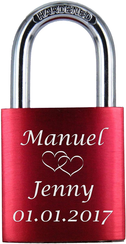 ♥ LoveGoals Liebesschloss mit Gravur   individuell graviert   ideales Geschenk für Paare & Verliebte   hochwertige Geschenkverpackung   Schloss mit 2 Schlüsseln   eloxiert   Motiv M005   Farbe (Rot)