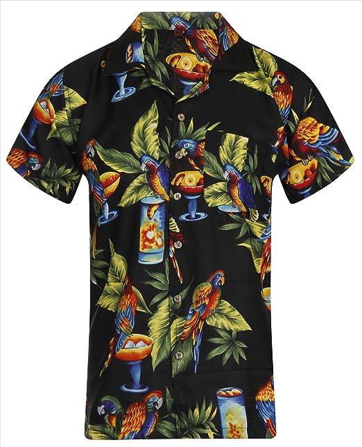 aec96678 Hawaiian Shirt Mens Loud Black Parrot Aloha Funky Cocktail Hawaii Holiday  Beach Beer Stag Palm Tree Cali Tiki Taka Summer Party Caribbean Short  Sleeve S M L ...