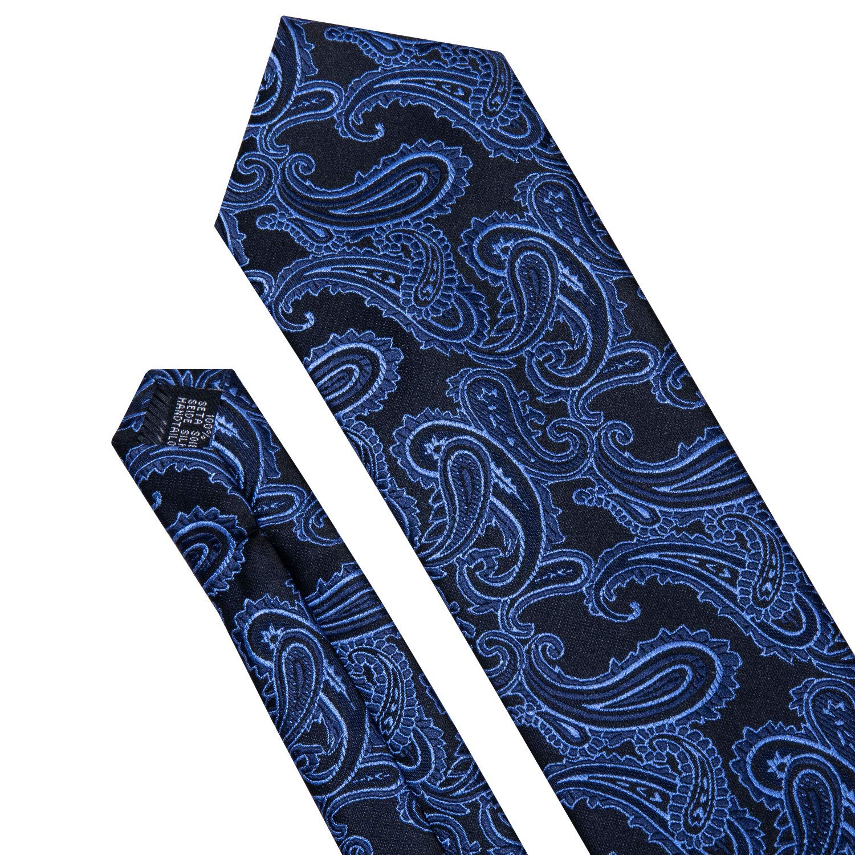 Mens Novelty Solid Black Tie Hankerchief Cufflinks Extra Long Necktie Set