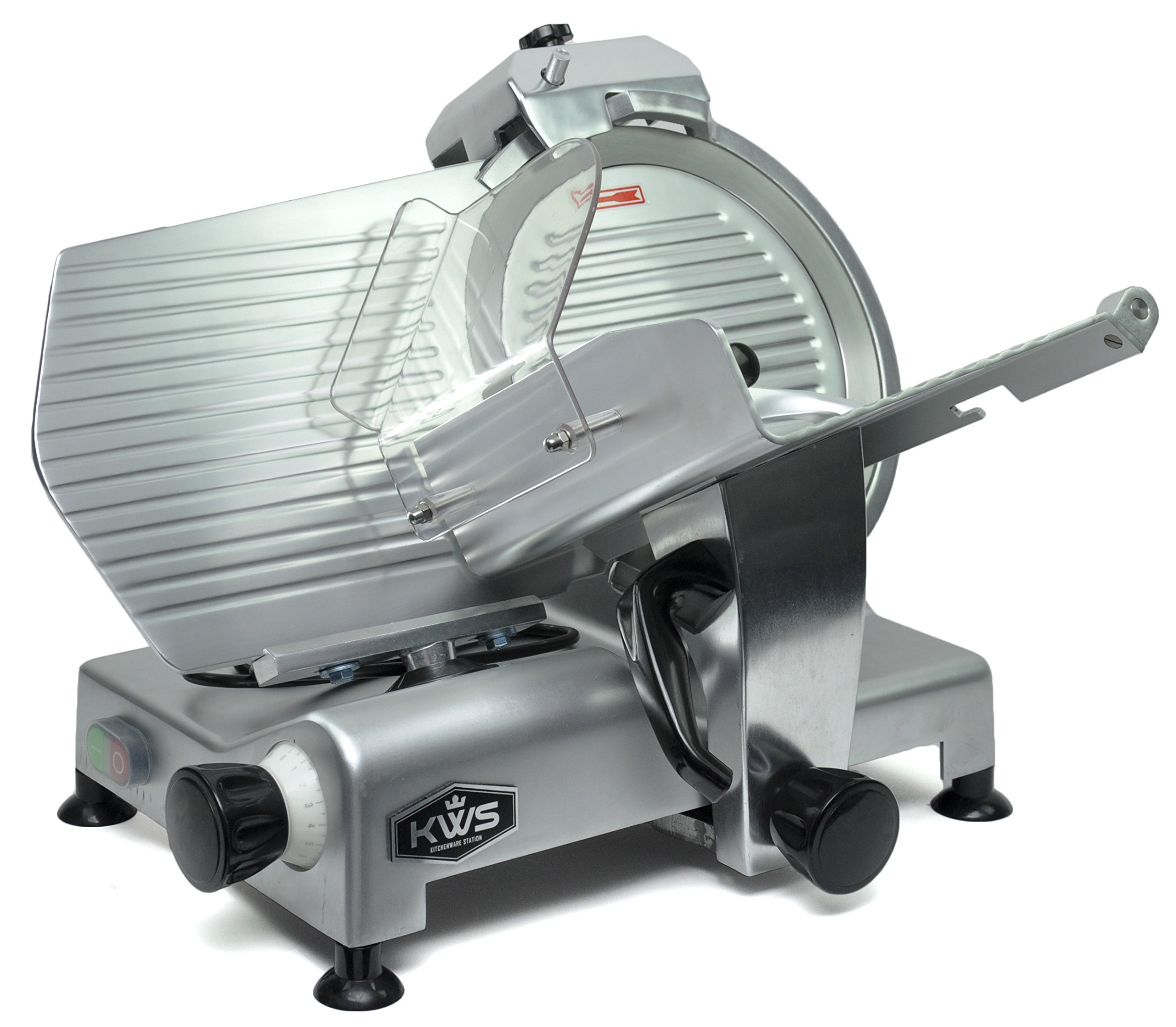 KWS MS-12NS Premium Commercial 420w Electric Meat Slicer 12-Inch Stainless Steel Blade, Frozen Meat/Cheese/Food Slicer Low Noises Commercial and Home Use by KitchenWare Station