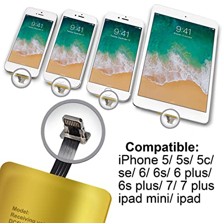 QI Receptor Para iPhone 5- 5c- SE- 6- 6 Plus- 7- 7 Plus - iPad – iPhone QI Receptor - iPhone QI Adaptador - QI Adaptador de Carga Inalámbrico - QI ...