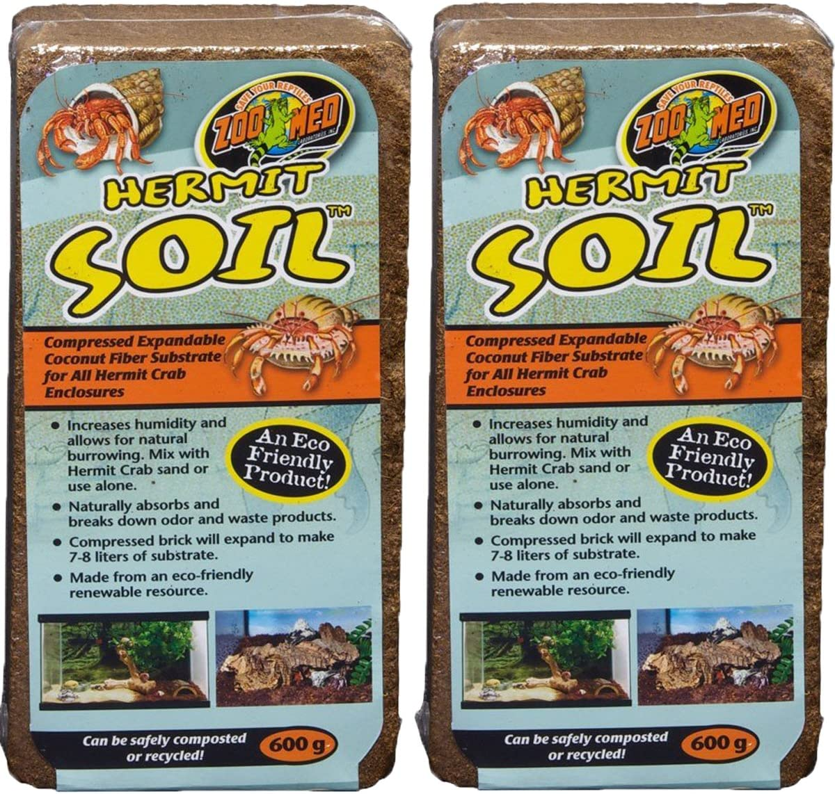 Zoo Med Hermit Soil Coconut Fiber Brick 600g (2 Pack)
