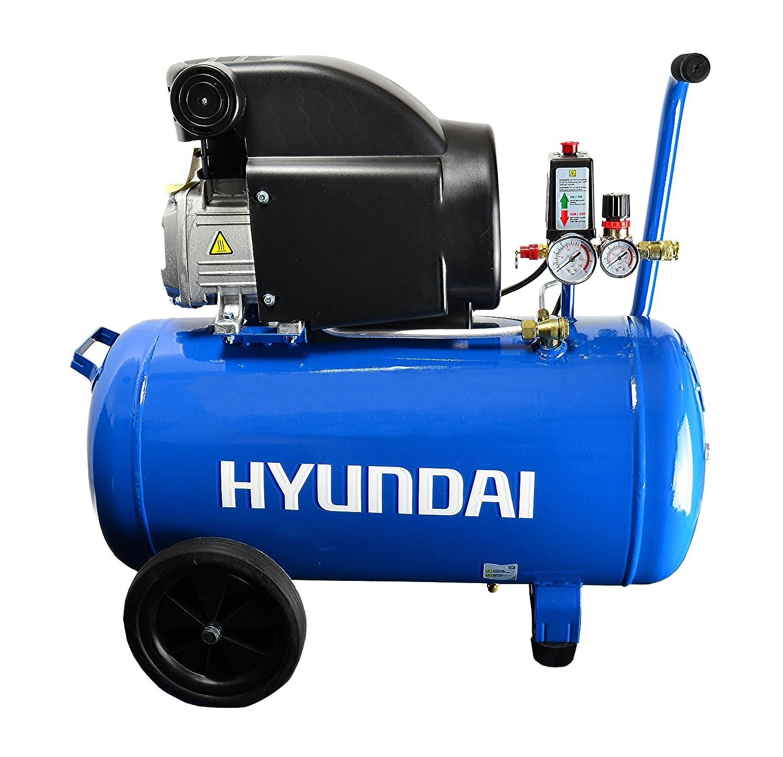 HYUNDAI AC5001E Compresor de aire con depósito de presión de 50 litros, lubricado por aceite, presión de servicio 8 bares, potencia del motor 1,5 kW (2,0 ...