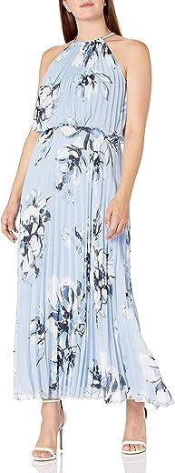 فستان MSK نسائي طويل ذو ياقة على شكل سلسلة فضية بأربطة