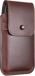 Blacksmith-Labs Barrett Mezzano 2017 Premium Oversized Genuine Leather Swivel Belt Clip Holster for Apple iPhone X/Xs for use w Apple Leather Case - Horween Chromexcel Havana Brown, Gunmetal Belt Clip