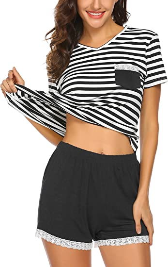 Ekouaer Pajama Set for Women Soft Short Sleeve Sleepwear Nightwear Print Pjs Set S-XXL