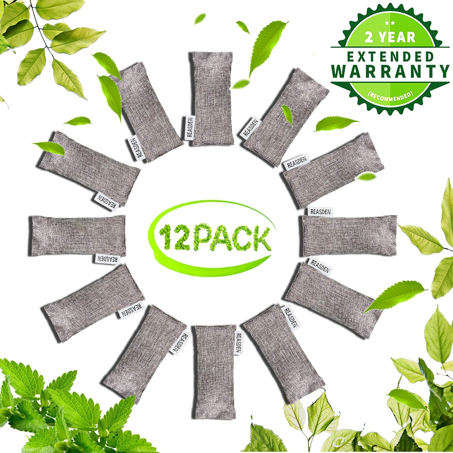 REASDEN Air Purifier Bag Bamboo Charcoal Bag Charcoal Air Purifying Activated Bags Dry Activated Charcoal Odor Absorber Captures and Eliminates Odors(12 Pack X 75g)