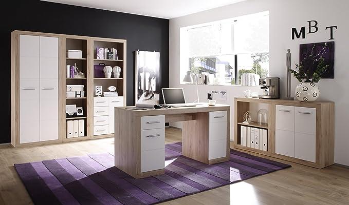 Büromöbel-Set San Remo Eiche/weiss: Amazon.de: Küche & Haushalt