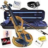 Electric Violin Bunnel Edge Outfit 4/4 Full Size Clearance (Light Zebrano)- Carrying Case and Accessories Included - Amp…