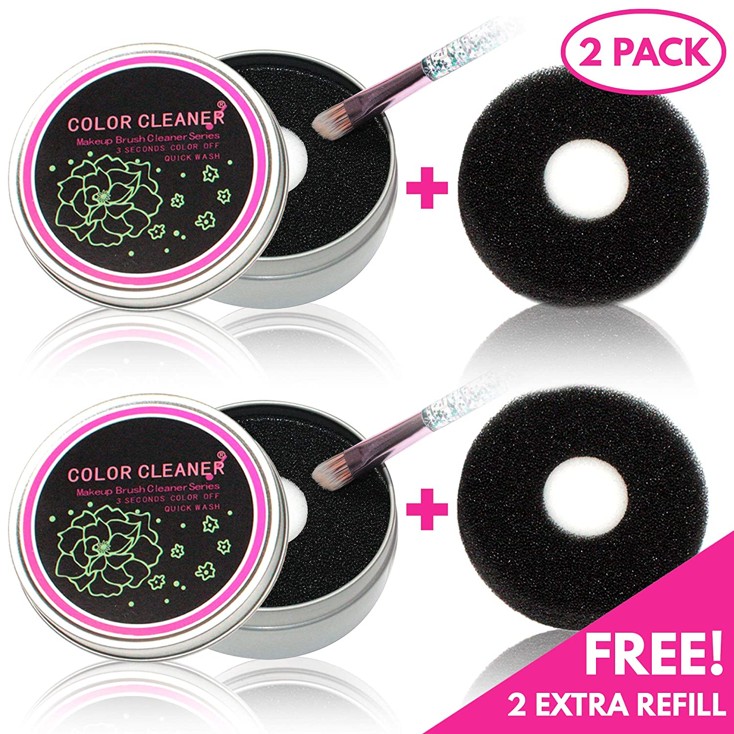 2 Pack Color Removal Sponge, Dry Makeup Brush Cleaner, Makeup Cleaner for Brushes, Color Removal for Brushes, color switch brush cleaner, Makeup Brush Quick Cleaner, 2 Pack+2 Replacements (Black-Dry)