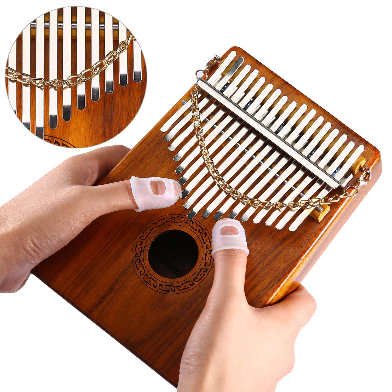 Thumb Piano 17 Keys Kalimba Acacia KOA Body Finger Piano Mbira Sanza Thumb Instrument with Kalimba Songbook 15 Songs Study Guide, Tuning Hammer and 4 Pcs Finger Thumb Picks(Solid KOA Wood) Asmuse