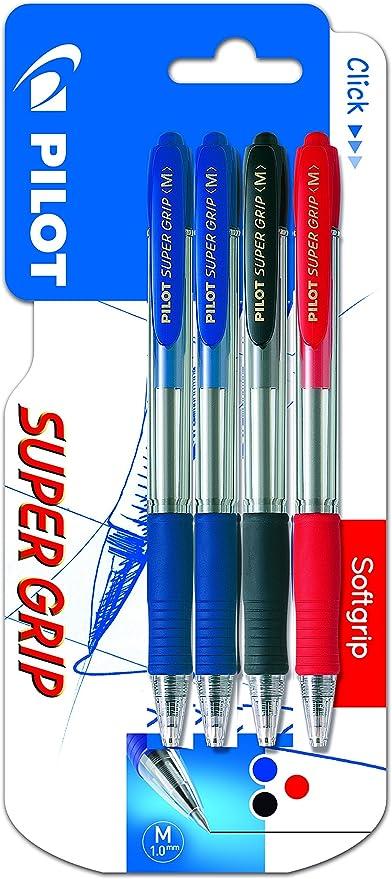Pilot Spain Super Grip - Bolígrafo retráctil con tinta base aceite, 4 unidades, multicolor: Amazon.es: Oficina y papelería