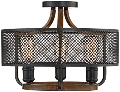 Halvor Rustic Farmhouse Ceiling Light Semi Flush Mount Fixture Black Mesh Wood 16 Wide 3-Light for Bedroom Kitchen Living Room Hallway Bathroom – Franklin Iron Works