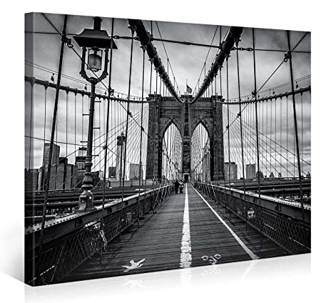 Large Canvas Print Wall Art BROOKLYN BRIDGE WALK 40×30 Inch New York Cityscape Canvas Picture Stretched On A Wooden Frame Giclee Canvas Printing Hanging Wall Deco Picture e4262