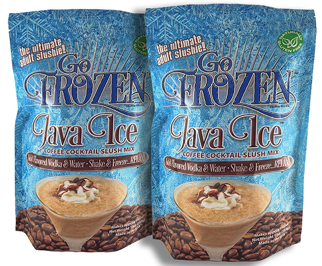 GO FROZEN Java Ice Mudslide-Mocha Frappe Slush Mix Mixer Kit (Pack of 2) Make Frozen Irish Coffee, White Russian, and Cherry Cordial Martini-Cocktail Recipe-Booklet Included