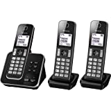 Panasonic KX-TGD323ALB Digital DECT Cordless Phone & Answering System with 3 Handsets, Black