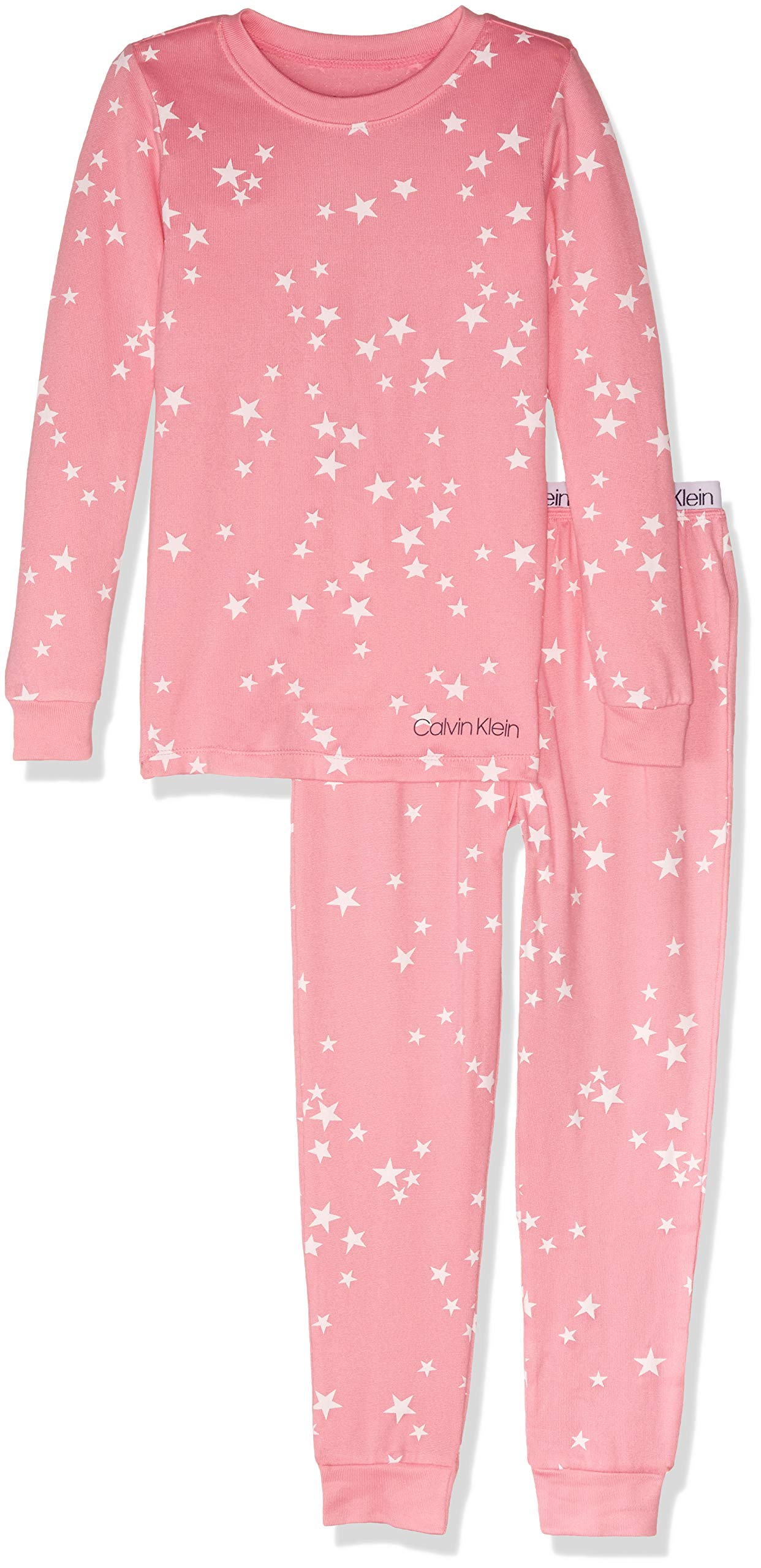 Calvin Klein Girls' Little 2 Piece Sleepwear Top and Bottom Pajama Set Pj
