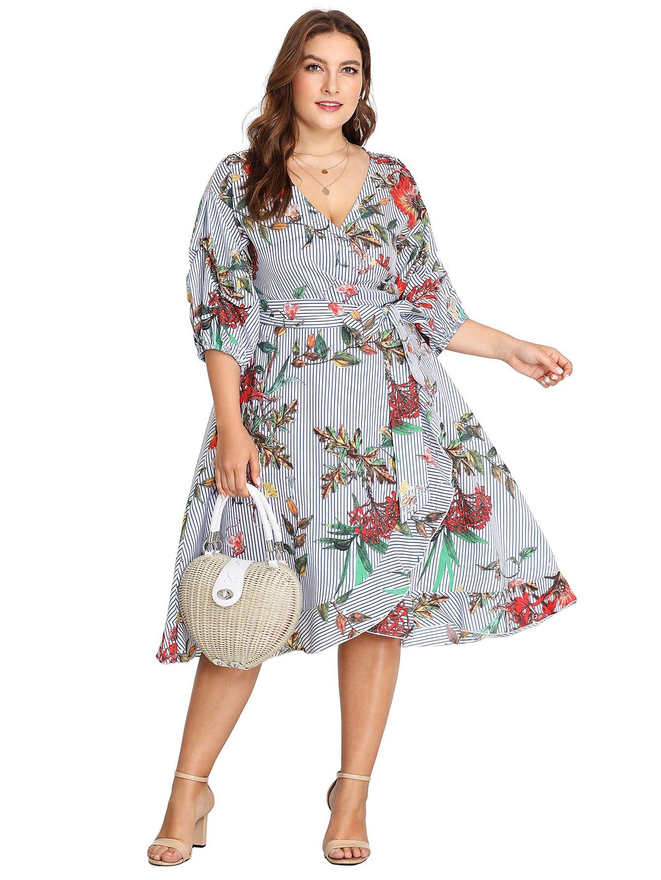 Milumia Plus Size Summer Wrap V Neck Chiffon 3 4 Sleeves Casual Party Midi Dress Floral Print